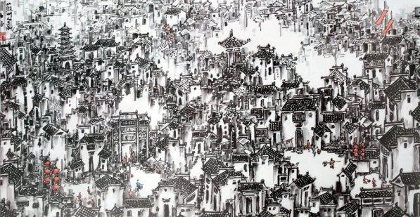 Hui Zhou Houses III 136 by 68 cm 2013